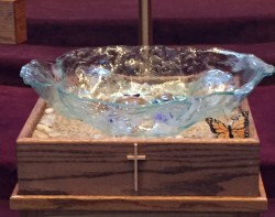 Fused glass Baptismal Bowl for Advent Lutheran Church in Olathe, KS