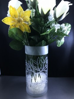 "$30.00 - Sand Carved Vase with Leaf Pattern, 7.25"" tall(lights, flowers and crystals not included)"
