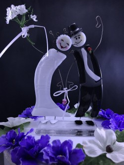 "$130 - Whimsical Bride/Groom Cake topper stands approx. 6"" t x 4"" w"