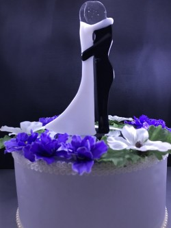 "$80 - Elegant Bride/Groom Cake Topper stands approx. 6"" h x 3"" w and is mounted to a 4"" round mirror."