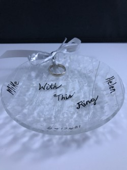 "$40 - Ring Bearer Bowl, Customized with your first names and wedding date in white gold.  Hole in bowl to thread ribbon to tie rings to dish.  Can use dish as a jewelry holder on your nightstand after.  Approx. 5"" round"
