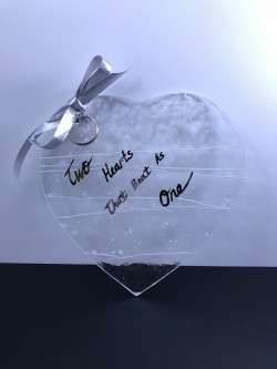 "$40 - Ring Bearer Heart Plate, Approx. 5"" tall has a hole for you to lace your rings on a ribbon to the dish."