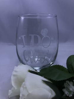 "$15 - Stemless Wine Glass, ""I Do Crew"" 21 oz.with customization on one side. Design is sand carved into the glass. For personalization on second side add $5."