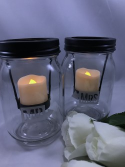 $35 - Mr and Mrs mason jar candle holders are sand carved. Great accent for the Bride/Groom table. Candles not included.