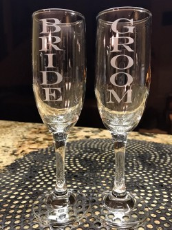 $30 - Champagne Flutes with the words Bride/Groom. 6.25 oz.