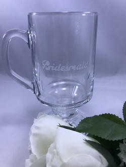 $15 - Irish Coffee Mug 9.75 oz. with customization on one side.  Design is sand carved into the glass. For personalization on second side add $5.