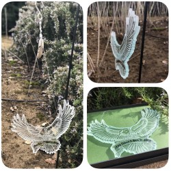 Eagle Memorial designed, cut and etched out of repurposed glass.