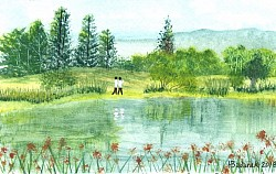 Vasona Lake Park, Los Gatos, CA - Watercolor
